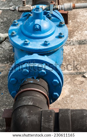 Industrial zone, Steel pipelines and valves - stock photo