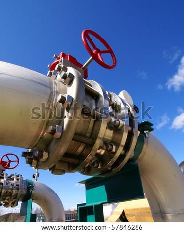 Industrial zone, Steel pipelines in blue sky - stock photo