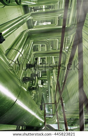 Industrial zone, Steel pipelines in green tones