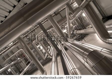 Industrial zone, Steel pipelines in sepia tones - stock photo