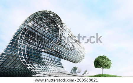 Industrialization and nature. Futuristic surreal design in the form of a wave and tree.  - stock photo