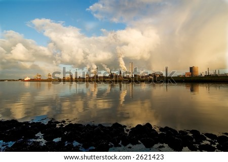 Industry across the river - stock photo