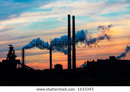 Industry and sunset - stock photo