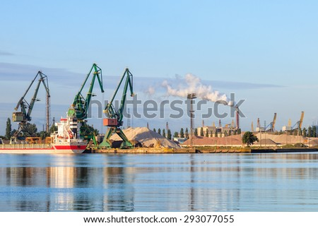 Industry area - Port of Gdansk at morning, Poland. - stock photo