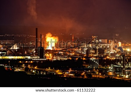 Industry at Night with infernal Fire - stock photo