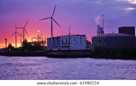 Industry at sunset with pink sky-Bremen,Germany. - stock photo