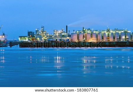 Industry at the icy river Elbe