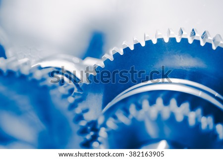 industry background with blue gear wheels - stock photo