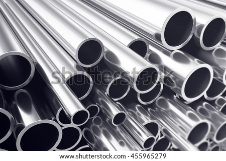 Industry business production and heavy metallurgical industrial products, many shiny steel pipes, industrial background, manufacturing business production concept with selective focus effect. 3D