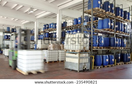 industry, chemical warehouse - stock photo