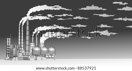 Industry concept: abstract plant with smokey sky. Bitmap copy my vector id 16240876 - stock photo