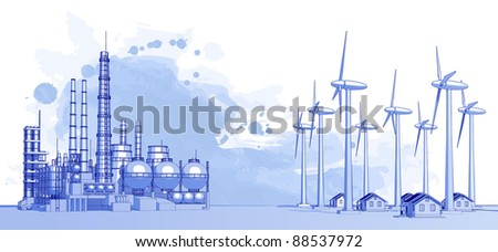Industry concept: abstract plant with smokey sky, wind-driven generators & houses with solar power systems. Bitmap copy my vector id 16555096 - stock photo