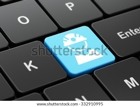 Industry concept: computer keyboard with Factory Worker icon on enter button background, 3d render - stock photo