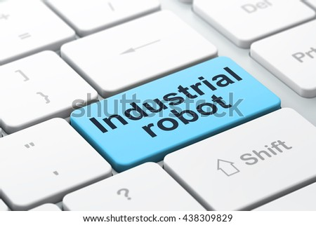 Industry concept: computer keyboard with word Industrial Robot, selected focus on enter button background, 3D rendering - stock photo