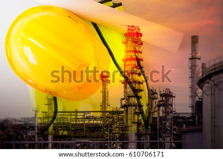 Industry 4.0 concept. Double exposure of refinary factory and safety helmet, drawing.
