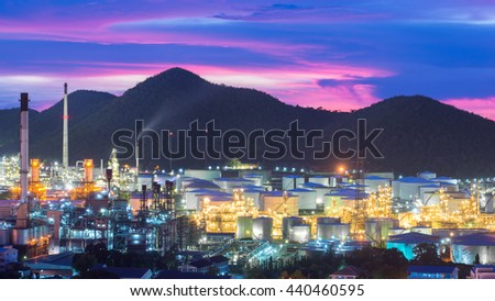 Industry concept - Oil refinery industry at night. Oil refinery industry in Chonburi, Thailand. Landscape of industry estate in Thailand. - stock photo