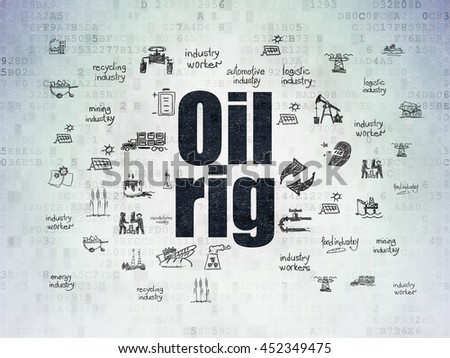 Industry concept: Painted black text Oil Rig on Digital Data Paper background with  Hand Drawn Industry Icons - stock photo