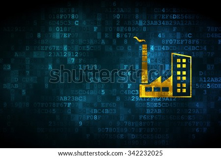 Industry concept: pixelated Industry Building icon on digital background, empty copyspace for card, text, advertising - stock photo