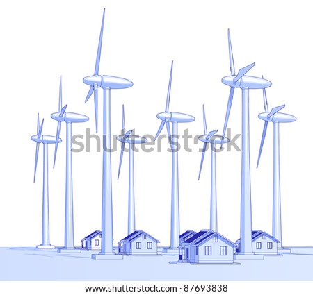 Industry concept: wind-driven generators & houses with solar power systems. Bitmap copy my vector id 18708979 - stock photo