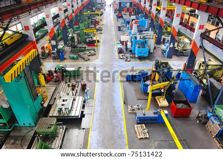 industry factory iron works steel and machine parts modern indoor hall for assambly - stock photo
