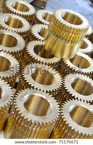 industry factory iron works steel and machine parts modern indoor hall for assembly - stock photo