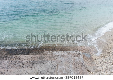 Industry in sea make pollution in the water. Copy space - stock photo