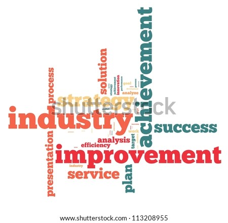 industry info-text graphics and arrangement concept on white background (word cloud) - stock photo