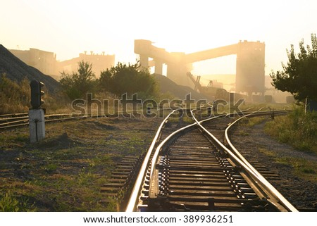industry landscape with railroad - stock photo