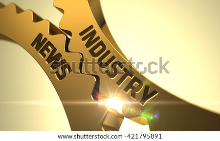 Industry News - Industrial Illustration with Glow Effect and Lens Flare. Golden Metallic Cog Gears with Industry News Concept. Industry News - Concept. Industry News - Industrial Design. 3D Render.