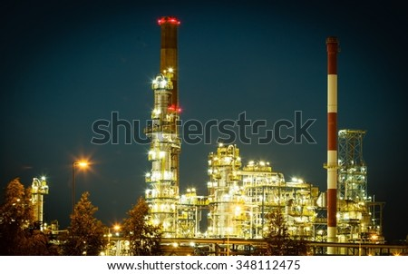Industry. Night view of the refinery petrochemical plant