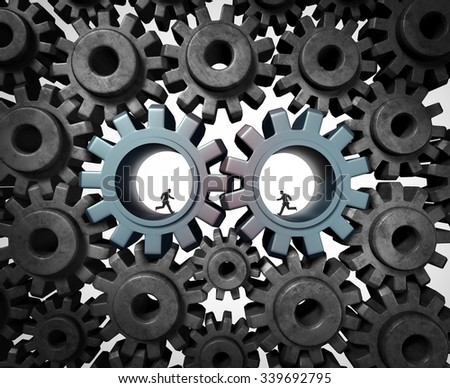 Industry partnership business planning concept as a team of businesspeople running inside a gear or cog wheel working together as a cooperation success metaphor of social economic engine network. - stock photo