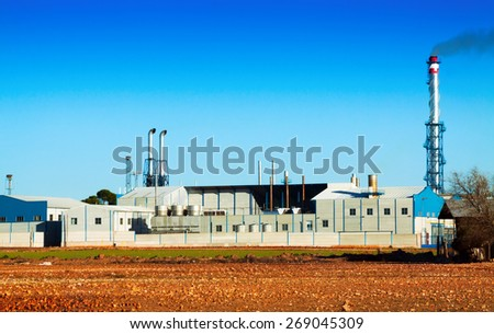 industry plant   near field  under clear  sky  - stock photo