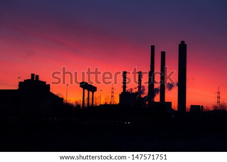 industry plant with amazing sky