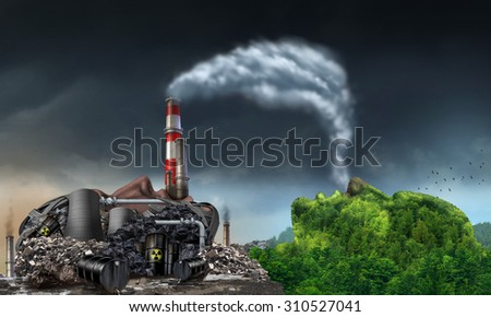 Industry pollution environment concept as a human head shaped as a dirty power plant releasing toxic waste and smoke stacks with plumes of dirty air breathed by a mountain in the shape of a face. - stock photo