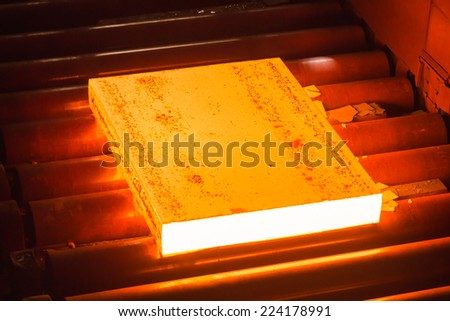 Industry steel, Hot slab extracting from Furnace.