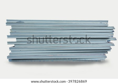 Industry steel, Stack of product steel, Steel stack on white background.