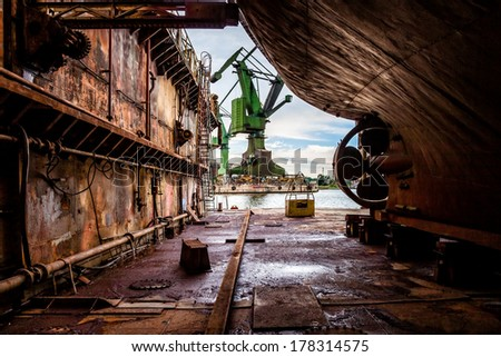 Industry view - On the dry dock in shipyard Gdansk, Poland. - stock photo