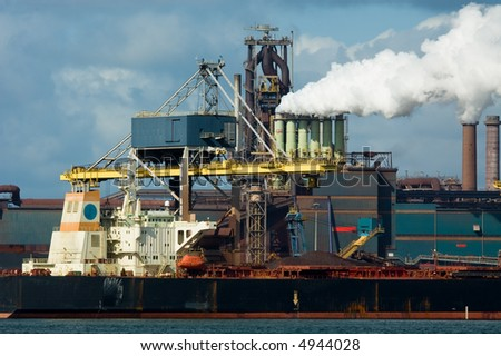 industryand ship in the harbor - stock photo