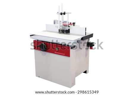 Indutrial woodworking milling machine isolated on white - stock photo
