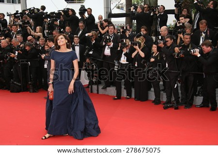 Ines de La Fressange attends the 'Mad Max : Fury Road' Premiere during the 68th annual Cannes Film Festival on May 14, 2015 in Cannes, France. - stock photo