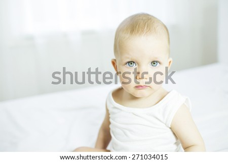 infant age ten months in the room - stock photo