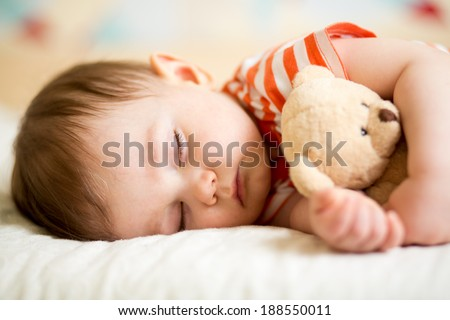 infant baby boy sleeping - stock photo