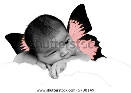Infant Baby Girl in Clouds With Fantasy Butterfly Wings Hand Colored/Tinted