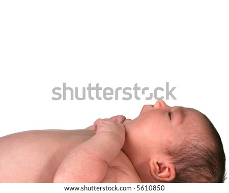 Infant Baby Girl Looking Up Lying on Her Back