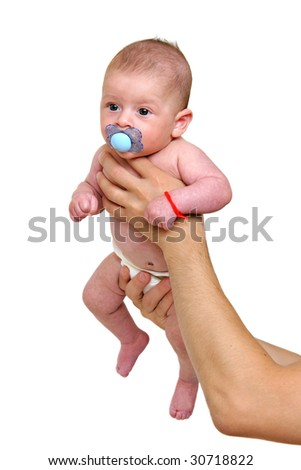 Infant baby isolated on white held by his dad - stock photo