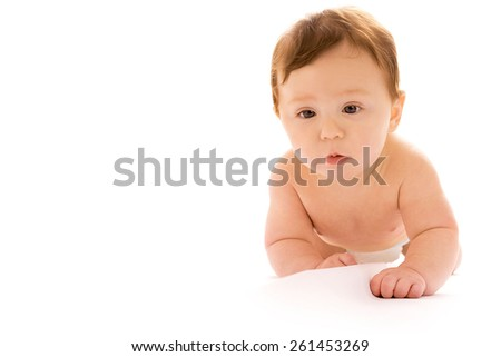 Infant baby on white background