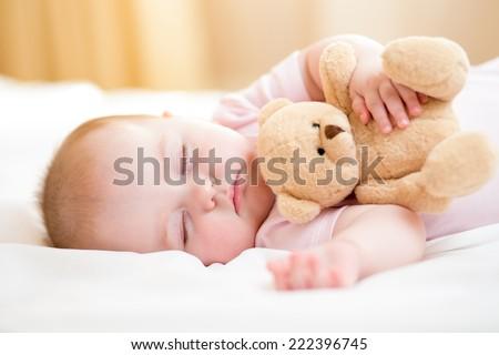 infant baby sleeping - stock photo