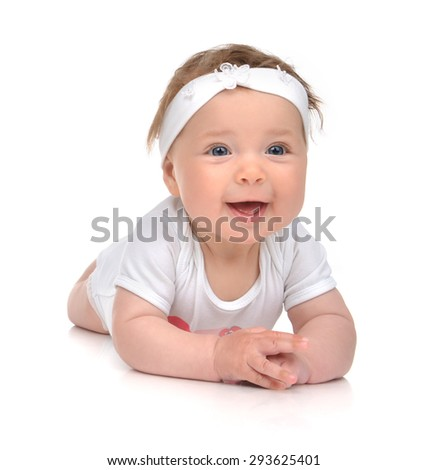 Infant child baby girl in body lying happy smiling laughing isolated on a white background - stock photo