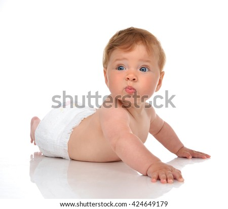 Infant child baby girl in lying in deaper happy smiling laughing and lookin at the corner isolated on a white background - stock photo