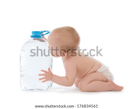 Infant child baby girl sitting with big bottle of drinking water in diaper and give five open hand sign smiling on white background - stock photo